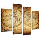 MSC357 Vintage World Map Canvas Wall Art Multi Panel Split Picture Print