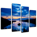 MSC377 Lake Tahoe Emerald Bay Canvas Wall Art Multi Panel Split Picture Print