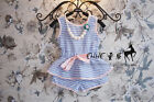 New Baby Girls Blue Striped Summer Outfits T-shirt Tops + Short Pants Set  Kids