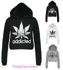 NEW LADIES CROP ADDICTED WOMENS PARIS HOODIE SWEAT TOP SIZE 8-14