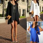 Women Summer Chiffon Casual Party Evening Cocktail Short Mini Dress Blouse