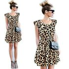 Women Fashion Sexy Sleeveless Leopard Dress Casual Evening Cocktail Party Dress