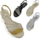 WOMENS FLAT DIAMANTE STRAPPY SANDALS LADIES SPARKLY BRIDAL PROM PARTY SHOES SIZE