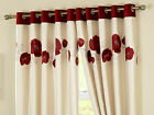 Danielle Red Cream Poppy Eyelet Lined Curtains Embroidered Flock Shiny Faux Silk