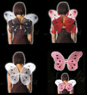 Large Adult or Kids Butterfly Fairy Wings Pink White Black OR Red 42 x 36cm