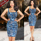 Womens Summer Casual Sexy Leopard Ruched Club Party Bodycon Mini Tank Dress 511