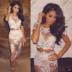 Womens Sexy White Sheer Lace Mesh Floral 2 Two Piece Summer Party Bodycon Dress