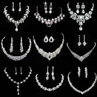 Crystal Rhinestone Necklace Earring Jewelry Sets For Wedding Bridal Party Prom image