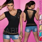 New Sexy Womens Top Size 6 8 10 Ripped Wrap Look Shirt Blouse Diamante Design