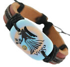 DJ364 adjustable black brown leather bracelet Virgo surfer hemp chain new hot