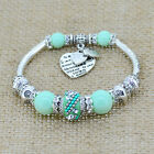 Glass Bead Bracelets For Women Silver Love Heart Charms European Jewelry Bangles