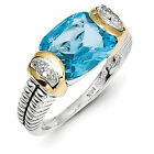 Blue Topaz Diamond Ring Sterling Silver Gold Accent 0.02 Ct Sz 6-8 Shey Couture