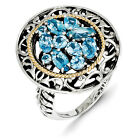 Blue Topaz Cluster Ring .925 Sterling Silver w/ 14K Accent Size 6-8 Shey Couture