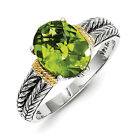 Peridot Ring Sterling Silver w/ 14K Gold Accent Antiqued Size 6 - 8 Shey Couture