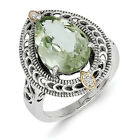 Green Quartz & Diamond Ring Silver 14K Gold Accent .01 Ct Size 6-8 Shey Couture