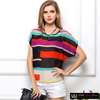 Womens Sexy Short Sleeve Multi Stripe Chiffon Sheer Office Shirt Blouse Top