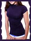 Women Seamless Stretch Short Sleeve Mock Neck Turtleneck Blouse Top one size $$