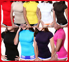 Women Seamless Stretch Short Sleeve Mock Neck Turtleneck Blouse Top one size