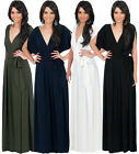 NEW Womens Elegant Batwing Sleeve VNeck Evening Plus Size Maxi Dress S M L XL 2X