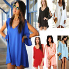 Sexy Womens Summer V-neck Chiffon Casual Party Evening Cocktail Short Mini Dress