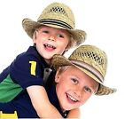KIDS BOYS STRAW TRILBY SUMMER SUN HATS FEDORA JAZZ SUN PROTECTION BEACH HAT CAP