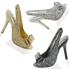 LADIES SLINGBACK PEEP TOE SANDALS WOMENS STILETTO GLITTER SPARKLY PARTY SHOES