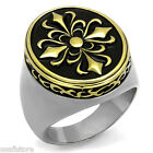 Oval Shape Gold EP Top Silver Stainless Steel Motif Art Mens Ring