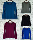 LADIES Long Sleeve Soft Scoop Stretch Top Grey Black Blue Red 8 10 12 14 16 18