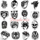 Punk Cool Mens Silvery Horse Claw Skull Tiger Wolf Dragon Alloy Finger Ring HOT