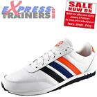 Adidas Mens V Racer Nylon Casual Classic Trainers White * AUTHENTIC *