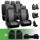 PU Leather Car Seat Covers w. Floor Mats for Split Bench