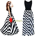 2015 Women Summer Boho Striped Long Maxi Evening Cocktail Party Chiffon Dress