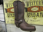 NEW RARE LOBLAN 548 Brown PURPLE HEEL Leather Men Cowboy Boots Biker Square