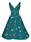 Vintage 50's Style Teal Bird Flared Rockabilly Bridesmaid Tea Dress New 10 - 20