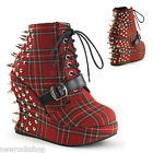 DEMONIA Pleaser BRAVO-23 Ladies Shoe RED Wedge Lace Up Ankle Boot Wedge