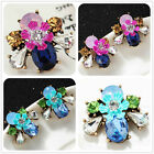 New Design Woman's Hot Pink/Blue Crystal Bling Rainbow Stud Drop/Dangle Earrings