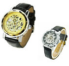 new Men's Classic Leather Gold Dial Skeleton Mechanical Sport Army Wrist Watch d