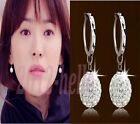Hot Fashion Womens Silver Plated Crystal Rhinestone Ear stud Hoop Earrings
