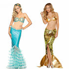 Ladys Bling Blue/Gold Adult Mermaid Cotsume Lingerie Sea Maid Long Cosplay Dress