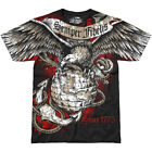 7.62 DESIGN MENS USMC SEMPER FIDELIS T-SHIRT ARMY GRAPHIC COTTON GLORY TOP BLACK