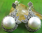 NEW - 100% real 925 STERLING SILVER marcasite & fresh water PEARL drop EARRINGS