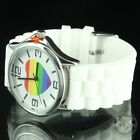 Heart Rainbow Dial Watch Multi White Silicon Band Steel Back Gay Pride LGBT New