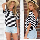 Women Short Sleeve Loose Black White Stripe T Shirt Casual Tops Blouse