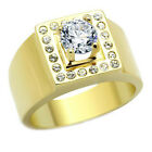 1.85ct Brilliant Round Cut CZ Stone 18kt Gold EP Mens Ring