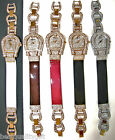 NEW LEATHER+ROSE-GOLD,SILVER CRYSTAL HORSESHOE-WHITE,BROWN,RED,BLACK WATCH