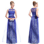 Blue Leopard Print Long Maxi Formal Evening Party Dresses Prom Gown 09978