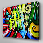 AB098 Graffiti Green Blue Canvas Wall Art Ready to Hang Picture Print