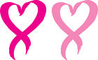 Set Of 2 -  Pink Heart Breast Cancer Ribbon - Window Sticker Decal -3 Diff Sizes