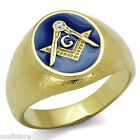 Masonic Mason Oval Blue Top Gold EP Stainless Steel Mens Ring Size 11-12-13