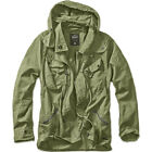 BRANDIT MENS BYRON OUTDOOR JACKET LONG SLEEVE HOODED COTTON MILITARY COAT OLIVE